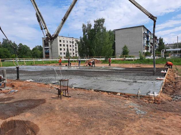 Заливка бетонного основания котельной